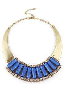 Blue Gemstone Gold Crystal Collar Necklace