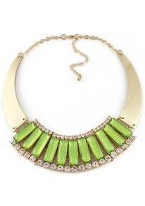 Green Gemstone Gold Crystal Collar Necklace