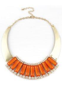 Orange Gemstone Gold Crystal Collar Necklace