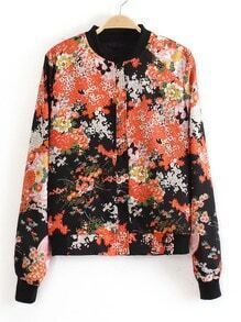 Black Floral Print Contrast Collar Jacket