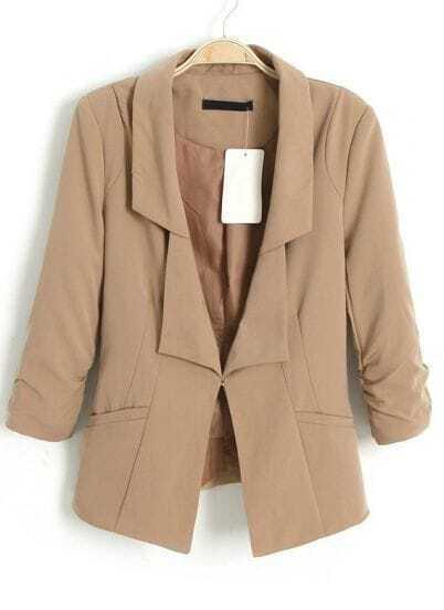 Khaki Double Lapel Ruched Sleeve Slim Fit Blazer