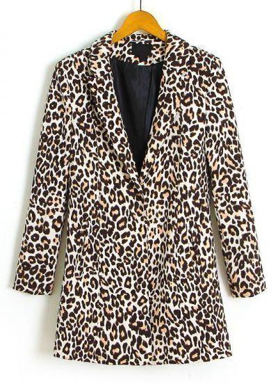 Leopard Split Vent Back Longline Blazer