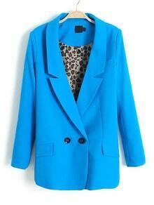 Blue Notch Lapels Contrast Leopard Sleeve Lining Blazer