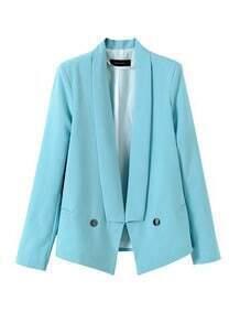 Blue Shawl Collar Open Front Twin Jet Pockets Blazer