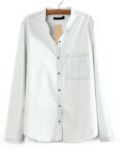 Light Blue Long Sleeve Band Collar Denim Shirt