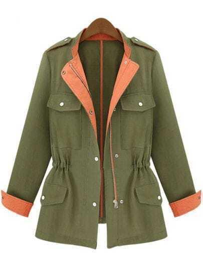 Army Green Stand Collar Blocked Drawstring Coat