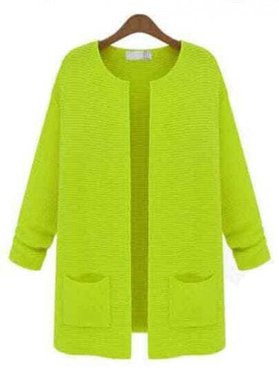 Neon Green Round Neck Double Pockets Open Knit Cardigan