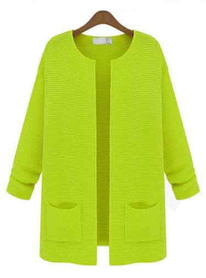 Neon Green Round Neck Double Pockets Open Knit Cardigan -SheIn ...