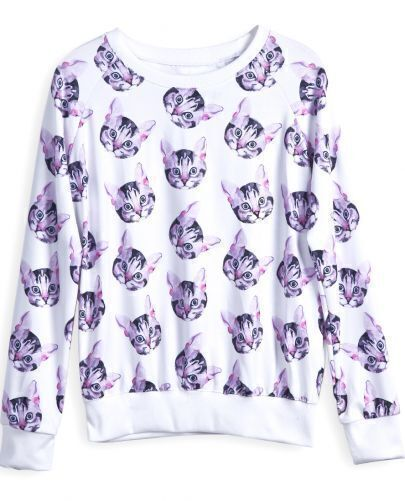 White Long Sleeve All Over Cat Print Sweatshirt