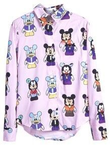 Pink Long Sleeve Cartoon Mickey Curved Hem Shirt