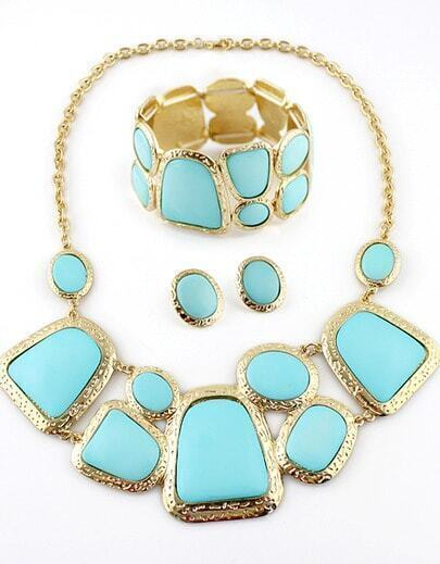 Blue Gemstone Gold Geometric Splice Jewelry Sets