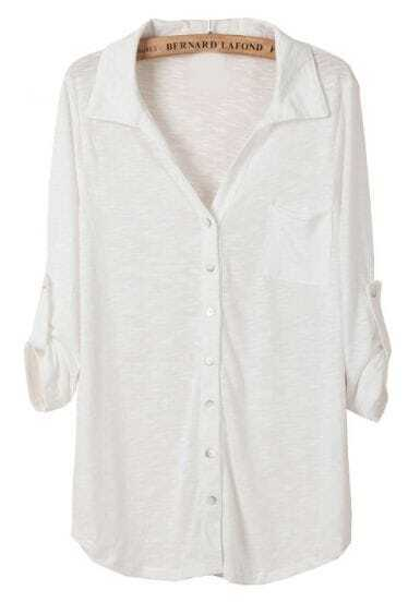White Lapel Long Sleeve Pockets Blouse