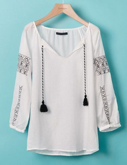 White Long Sleeve V Neck Drawstring Embroidery Blouse
