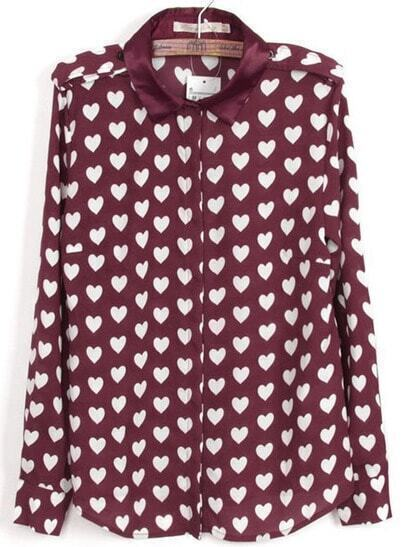 Red Long Sleeve Hearts Print Chiffon Blouse