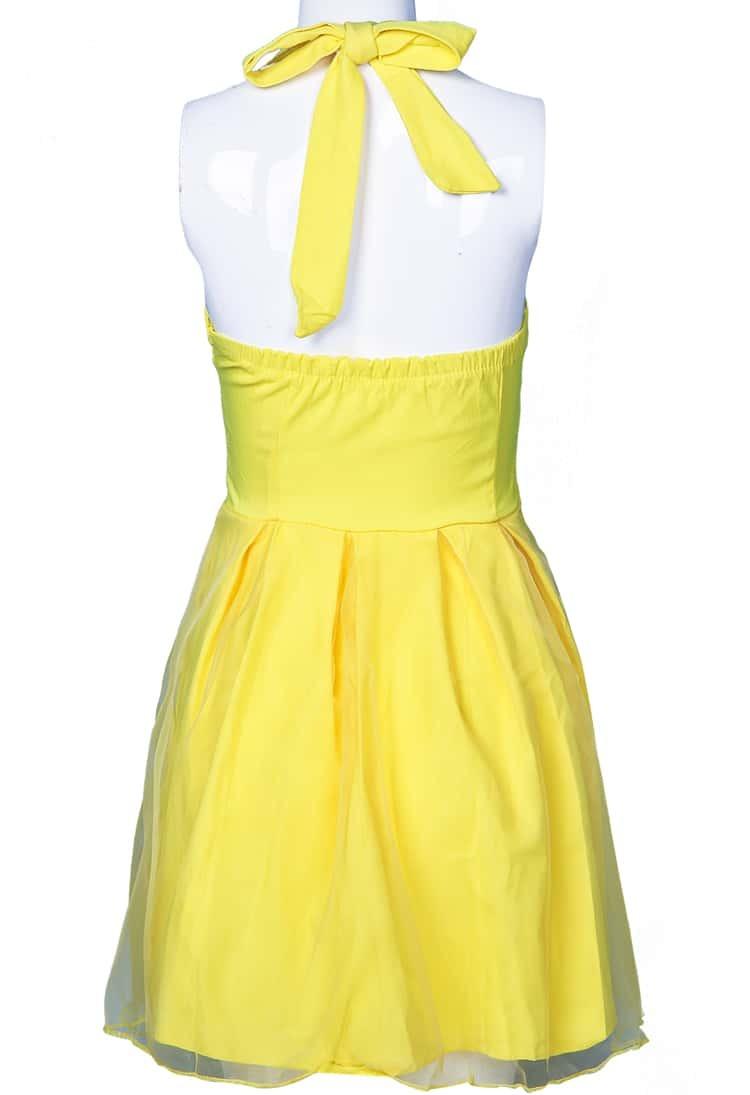 Yellow Halter Strapless Mesh Yoke Princess Dress Shein