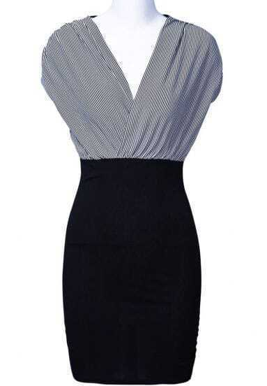 Black V Neck Vertical Stripe Fashion Bodycon Dress