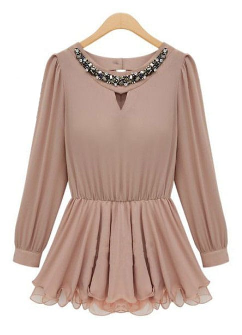 nude long sleeve rhinestone pleated chiffon dress