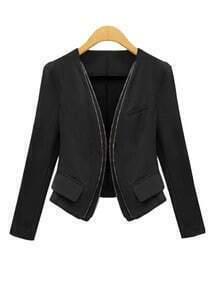 Black Long Sleeve Zipper Pockets Crop Jacket