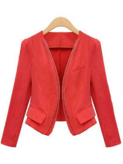 Red Long Sleeve Zipper Pockets Crop Jacket