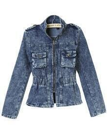 Blue Stand Collar Slim Denim Crop Jacket