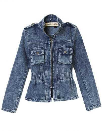 Blue Stand Collar Slim Denim Crop Jacket