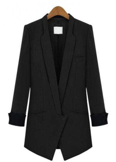 Black Lapel Long Sleeve Slim Pockets Blazer