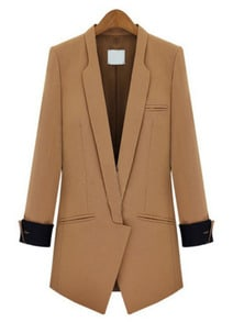 Camel Lapel Long Sleeve Slim Pockets Blazer