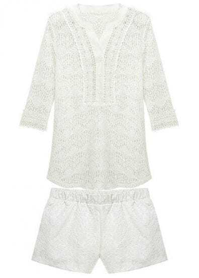 White V Neck Hollow Lace Outerwear With Vest and Shorts