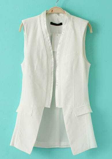 White Collarless Sleeveless Pockets Blazer
