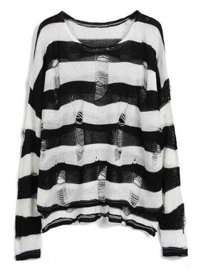 Black White Striped Long Sleeve Ripped Hollow Sweater