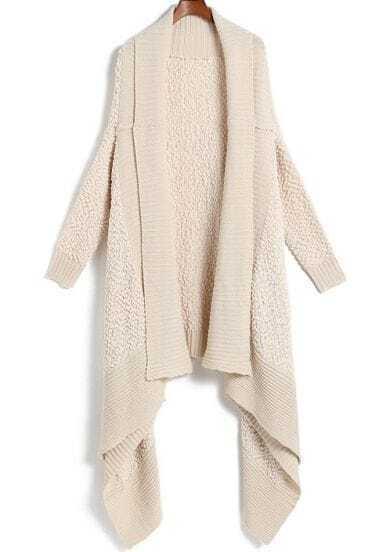 Apricot Long Sleeve Shawl Knit Cardigan Sweater