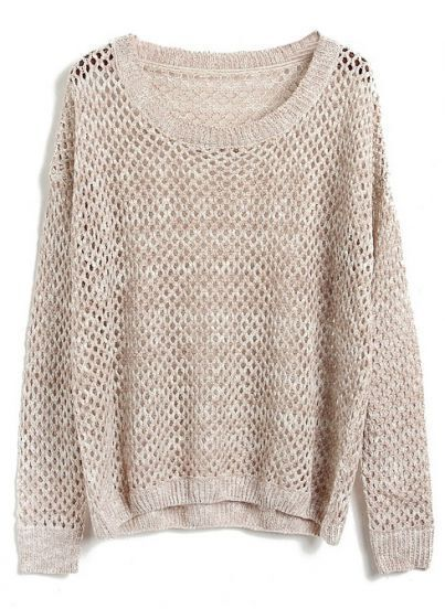 Apricot Batwing Long Sleeve Hollow Knit Sweater