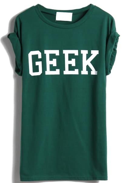 Army Green Short Sleeve GEEK Print T-Shirt -SheIn(Sheinside)