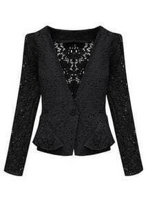 Black Long Sleeve Hollow Lace Crop Jacket