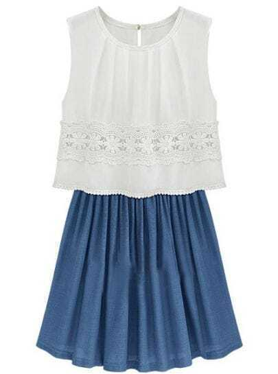 White Blue Sleeveless Lace Pleated Chiffon Sundress
