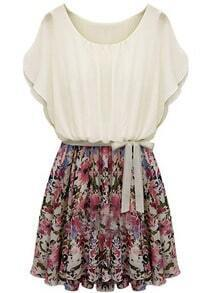 Beige Batwing Short Sleeve Floral Belt Dress