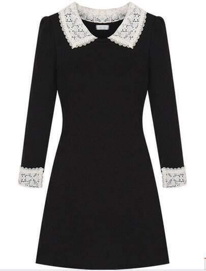 Dark Grey Contrast Lapel Long Sleeve Dress