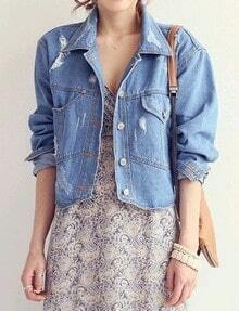 Blue Long Sleeve Ripped Crop Denim Jacket