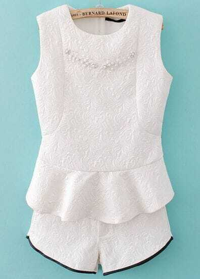 White Sleeveless Bead Ruffles Top With Shorts