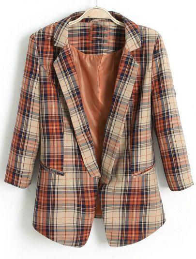 Red Orange Notch Lapel Plaid Pockets Blazer