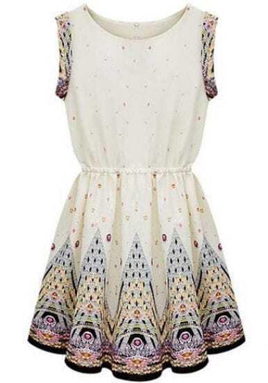 Ivory Round Neck Sleeveless Embroidery Dress