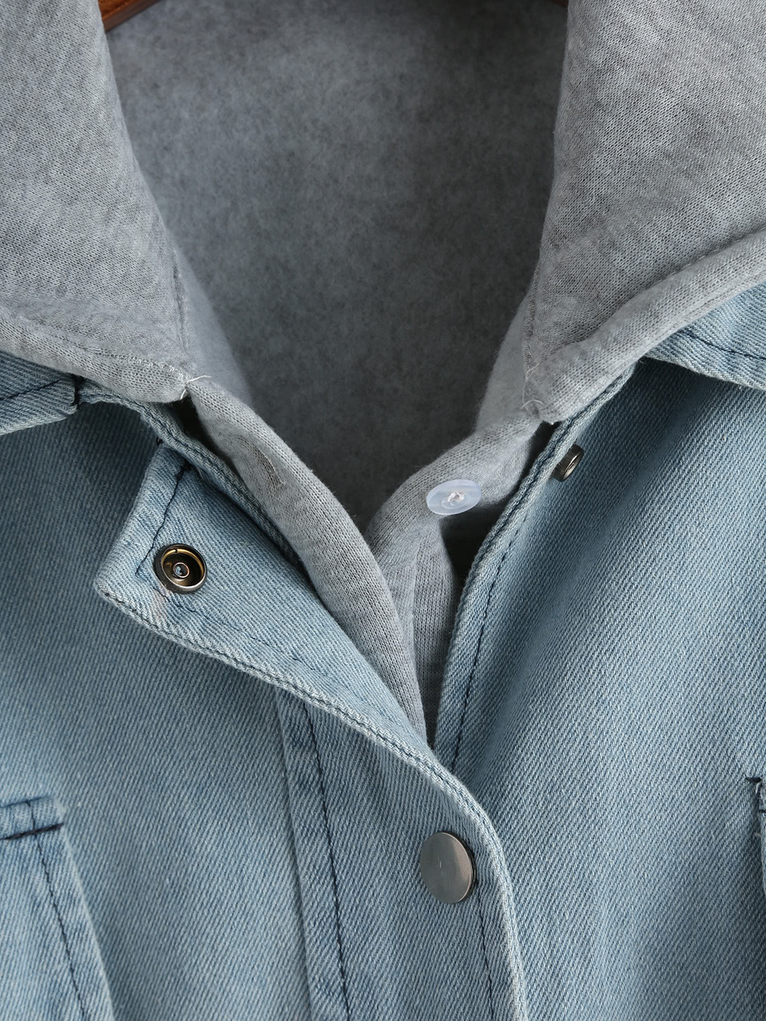Blue Hooded Drawstring Denim Two Pieces Outerwear