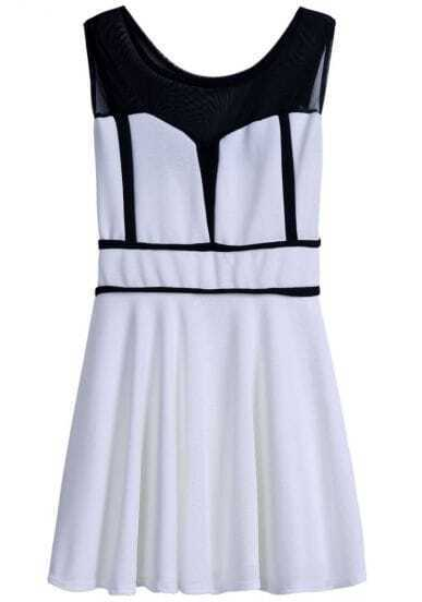 White Contrast Black Sleeveless Pleated Dress