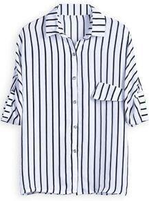 Black White Vertical Stripe Lapel Chiffon Blouse