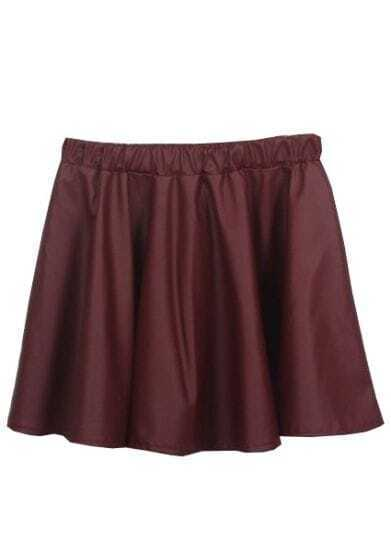 Red Elastic Waist Ruffles PU Skirt