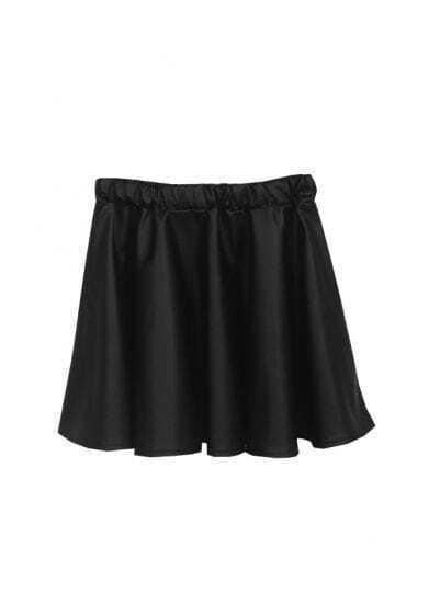 Black Elastic Waist Ruffles PU Skirt