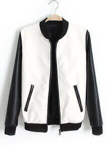 White Contrast Long Sleeve Pockets PU Jacket