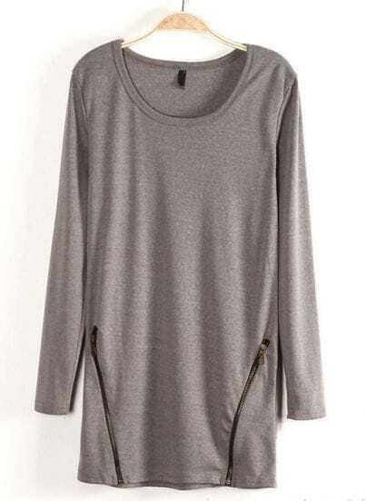 Grey Long Sleeve Zipper Embellished T-Shirt