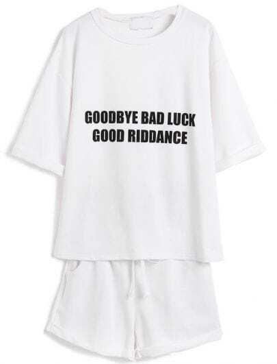 White Short Sleeve Letters Print Top With Drawstring Shorts