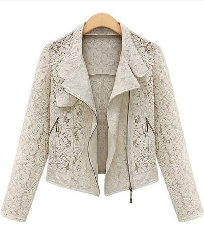 Beige Long Sleeve Hollow Lace Crop Outerwear